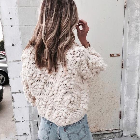 af6049359b Cream Pom Pom Sweater cardigan. M 5a60027c00450f1d0b76ce8b